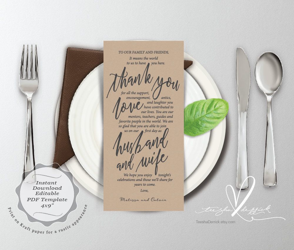 Wedding Place Setting Thank You Card Y Instant Download
