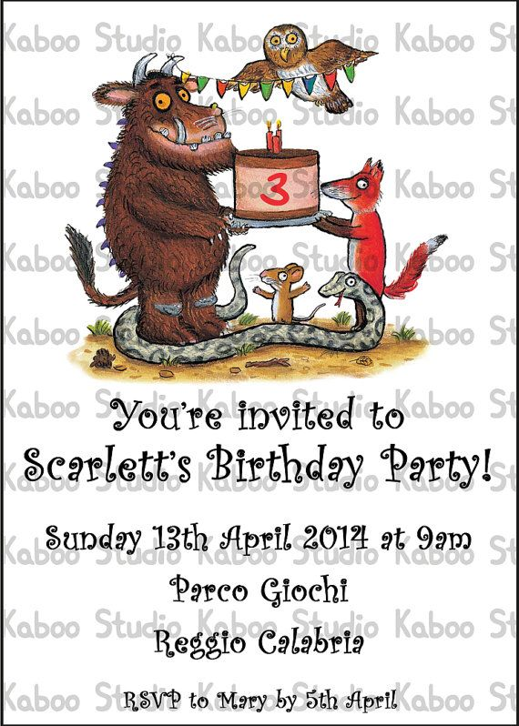 Image From Https Img0 Etsystatic Com 036 1 7863497 Il 570xn 619214022 Sw67 Jpg Kids Cards Gruffalo Party Free Printables