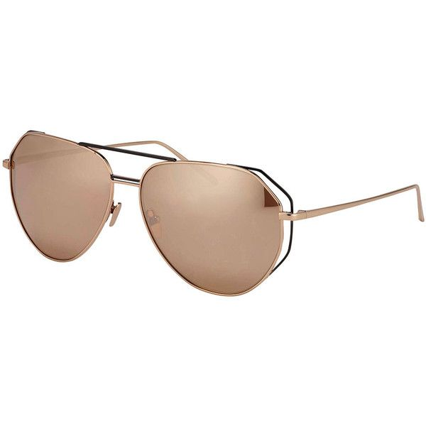 Linda Farrow Double-Rim Angled Aviator Sunglasses ($1,160) ❤ liked on Polyvore featuring accessories, eyewear, sunglasses, rose gold, mirrored aviator sunglasses, aviator style sunglasses, aviator glasses, mirrored lens sunglasses and mirror lens aviators