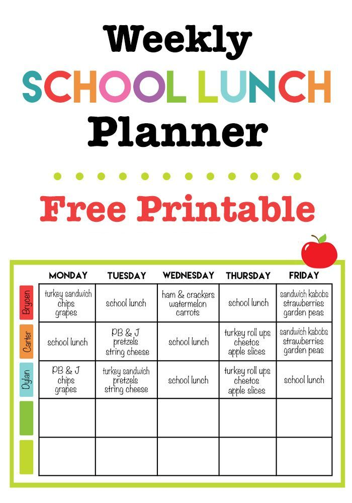 Weekly school lunch printable back to school pinterest for Blank daycare menu template