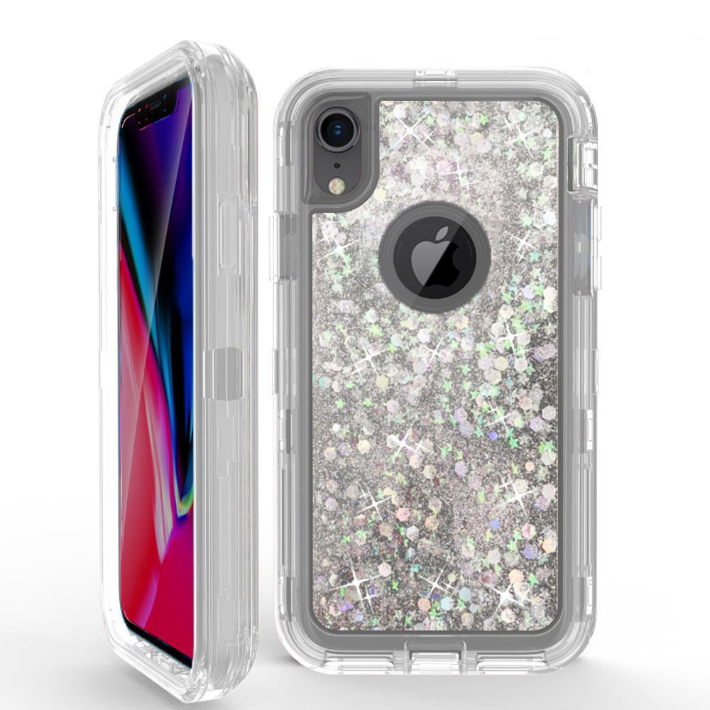 For iphone x xs max xr glitter liquid defender case belt
