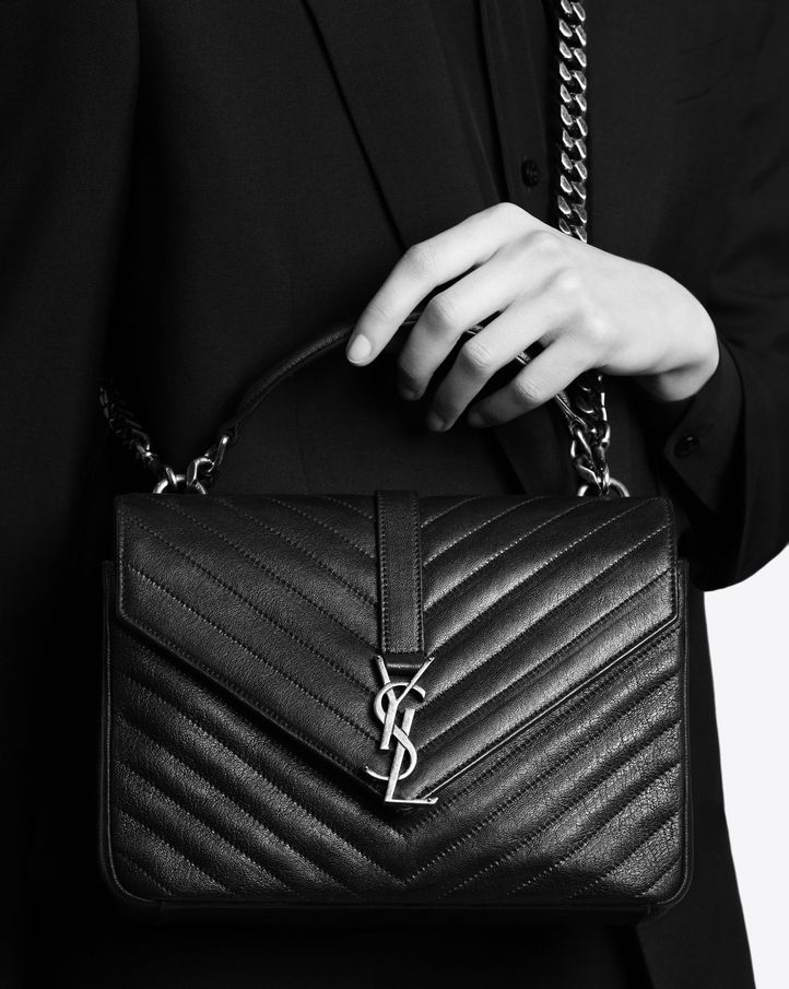 saintlaurent, CLASSIC Medium COLLèGE MONOGRAM SAINT LAURENT BAG IN Black  MATELASSÉ LEATHER USD 2450 at YSL 611db09abf