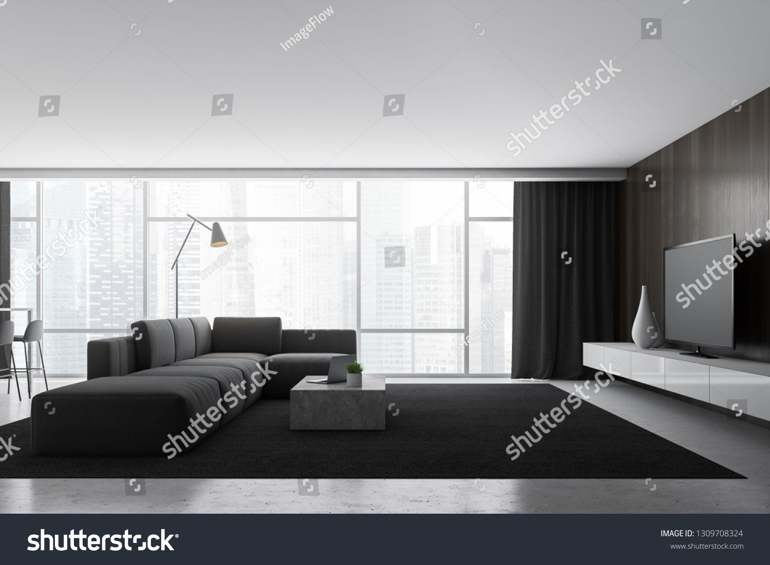 Interior of panoramic living room with wooden walls, stone