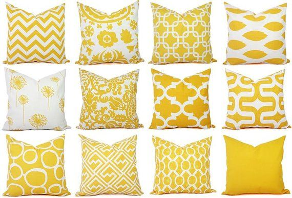 Two Solid Yellow Throw Pillow Covers Couch Gold De