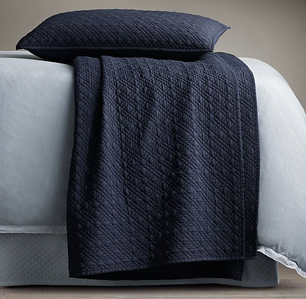 Vintage-Washed Cotton Voile Quilt & Shams Collection in indigo ... : solid navy quilt - Adamdwight.com