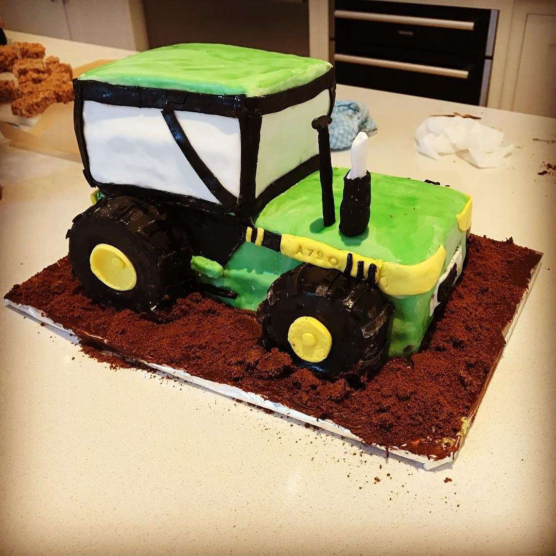 Tractor cake for a farm themed birthday party childrensparty