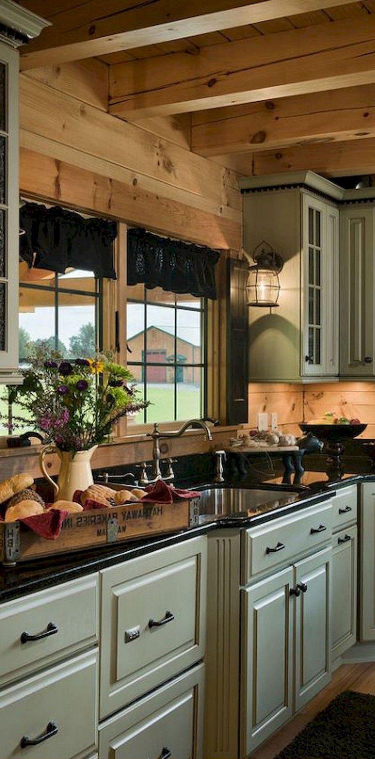 76 Rural Kitchen Cabinet Makeover Ideas Kitchendesign Kitchenideas Kitchenremodel Log Home Kitchens Log Cabin Kitchens Farmhouse Kitchen Design