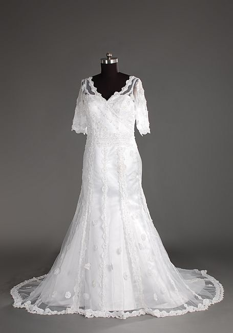 A-line V-neck 1/3 Length Sleeve Chapel Train Satin Tulle Lace Wedding Dress With Applique Beading Free Shipping$218.00