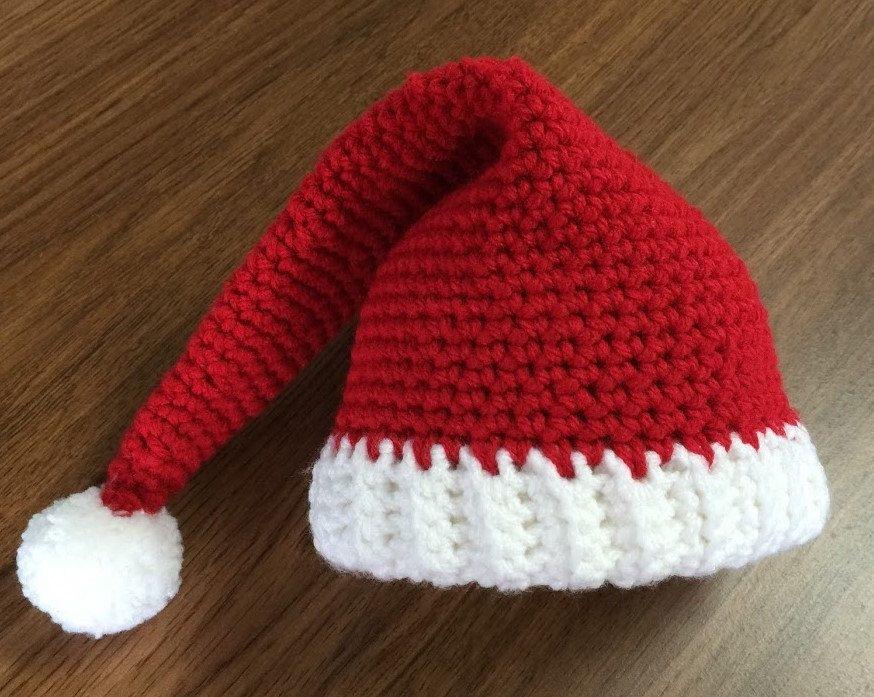 Crochet Santa Hat Red Elf Hat Red Santa Hat Crochet Elf