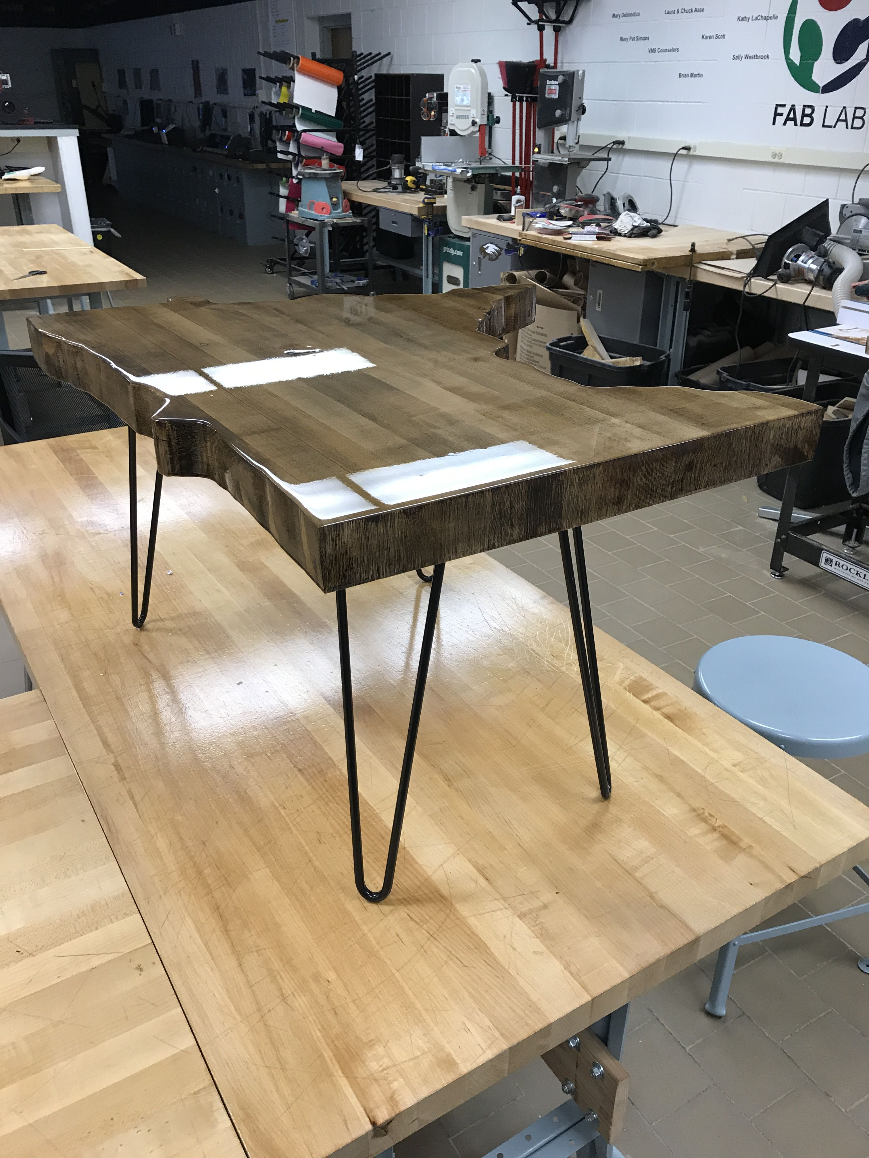Added hairpin legs with images butcher block tables