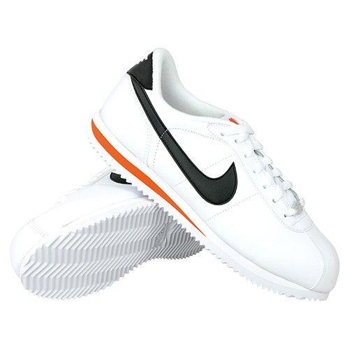 ... nike cortez basic leather white black team orange ...