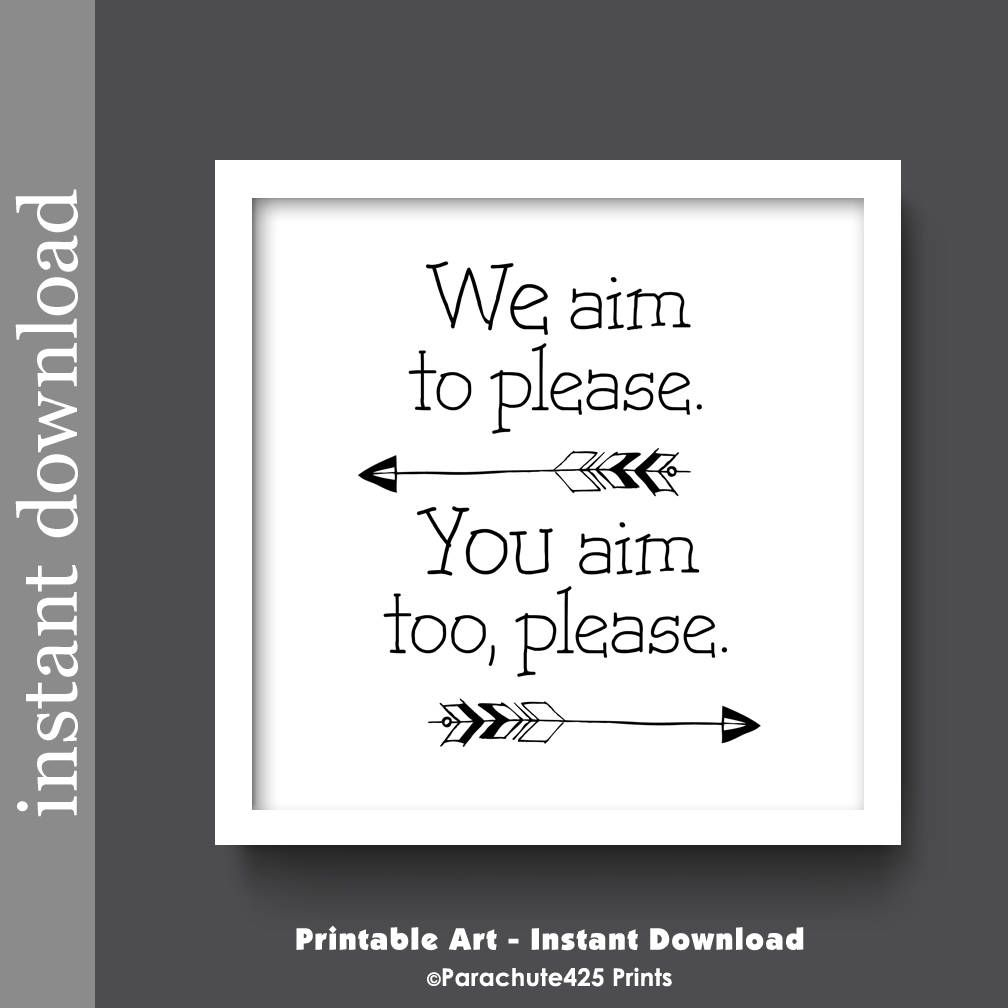 Bathroom Printable Funny Art Aim To Please Black And White Restroom