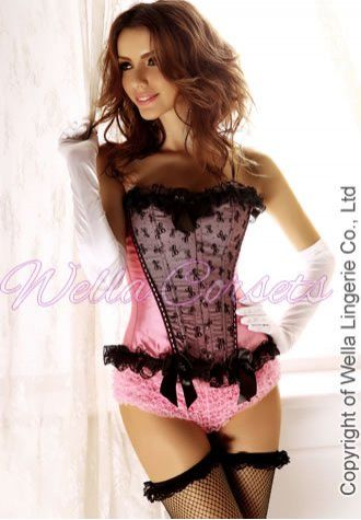 this beautiful pink/black strapless wella corset is