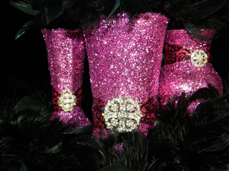 Wedding Centerpiece, Wedding Decorations, Pink, Black, Fuschia ...