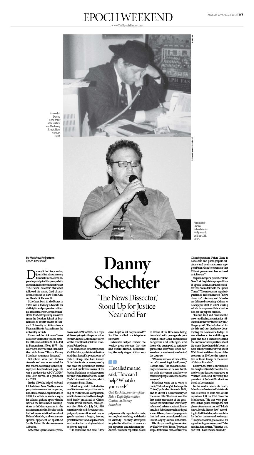 Danny Schechter, 'The News Dissector,' Stood Up for Justice Near and Far|Epoch Times #Story #editorialdesign