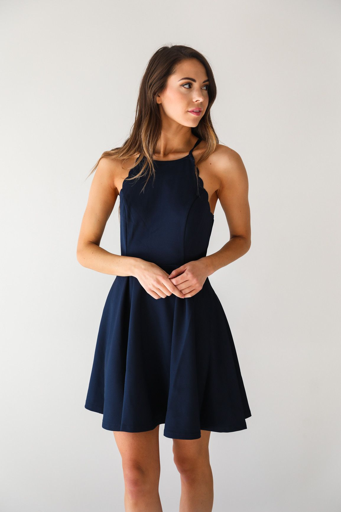 Dark navy sleeveless fit and flare dress with scalloped detail • Available  in S 4dca3c5a9007