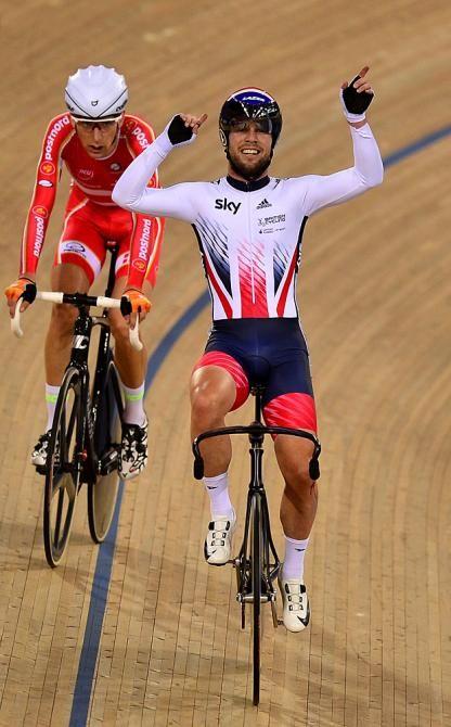 Mark Cavendish celebrates the win in the Madison Track World Championships 2016