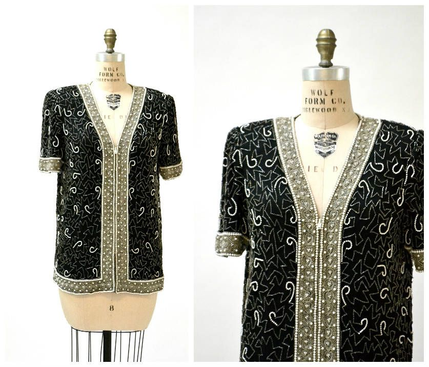 Vintage Black and Silver beaded jacket EAPvzQ4