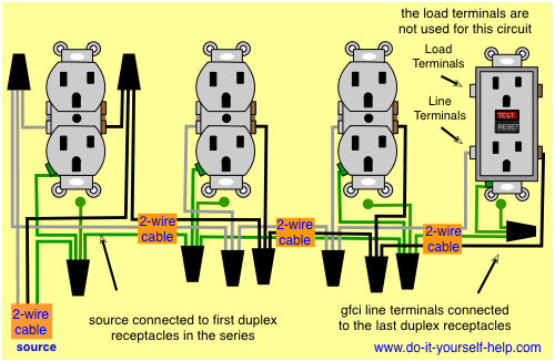 wiring diagram for a gfci and multiple duplex receptacles