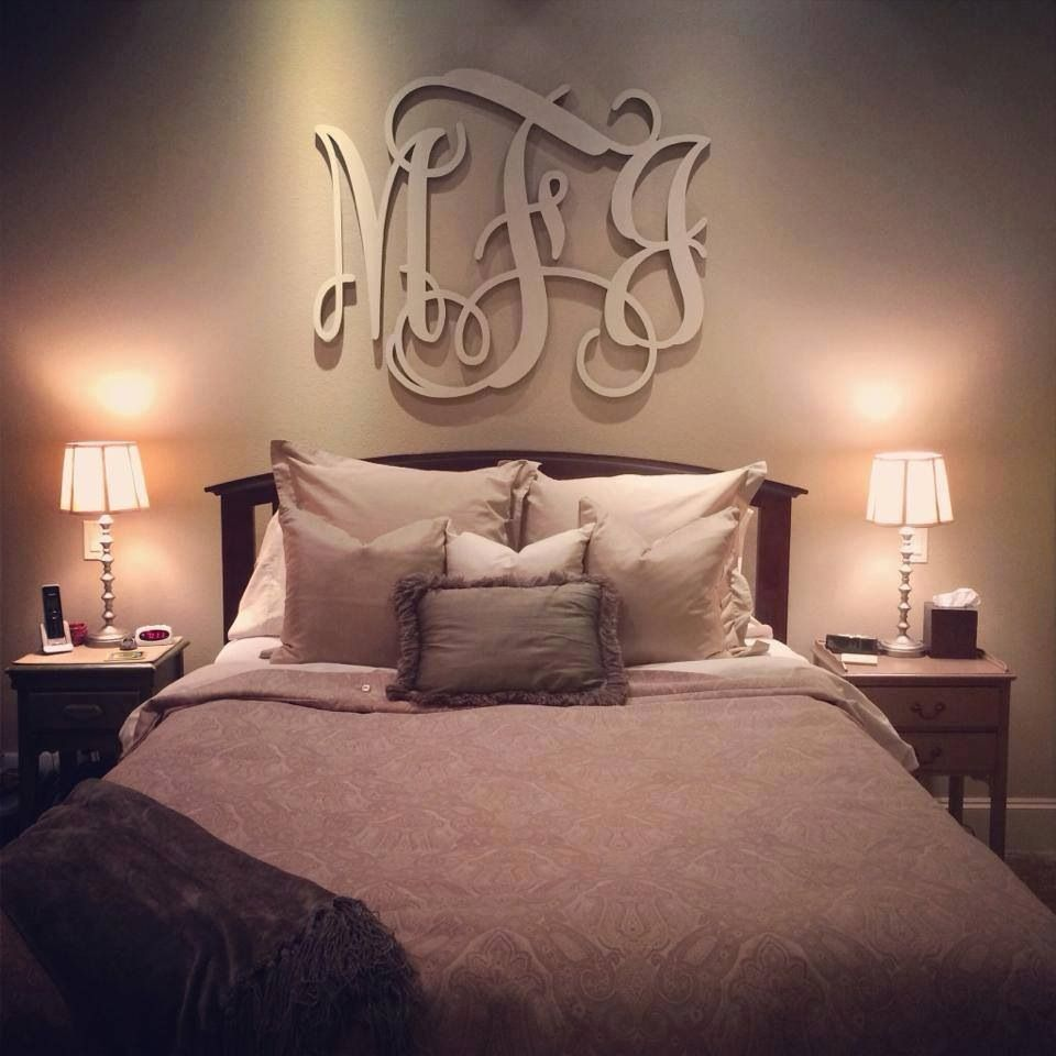 Romantic Bedroom Wall Decor Love The Monogram Above The Bed Something About It Looks So