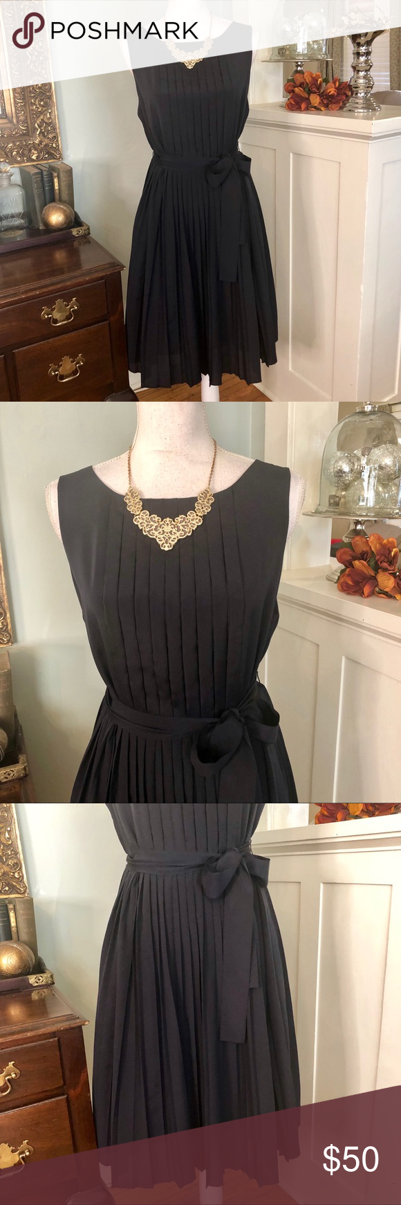 15130c5f910 Talbots Navy Blue Pleated Dress Belted Size 8 Talbots Navy Blue Pleated  Dress. Pleated chest