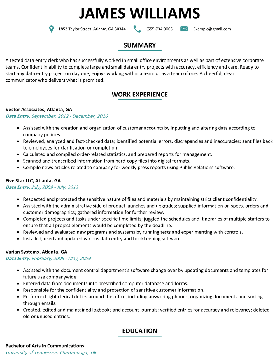 Data Entry Resume Example Resume, Data entry projects