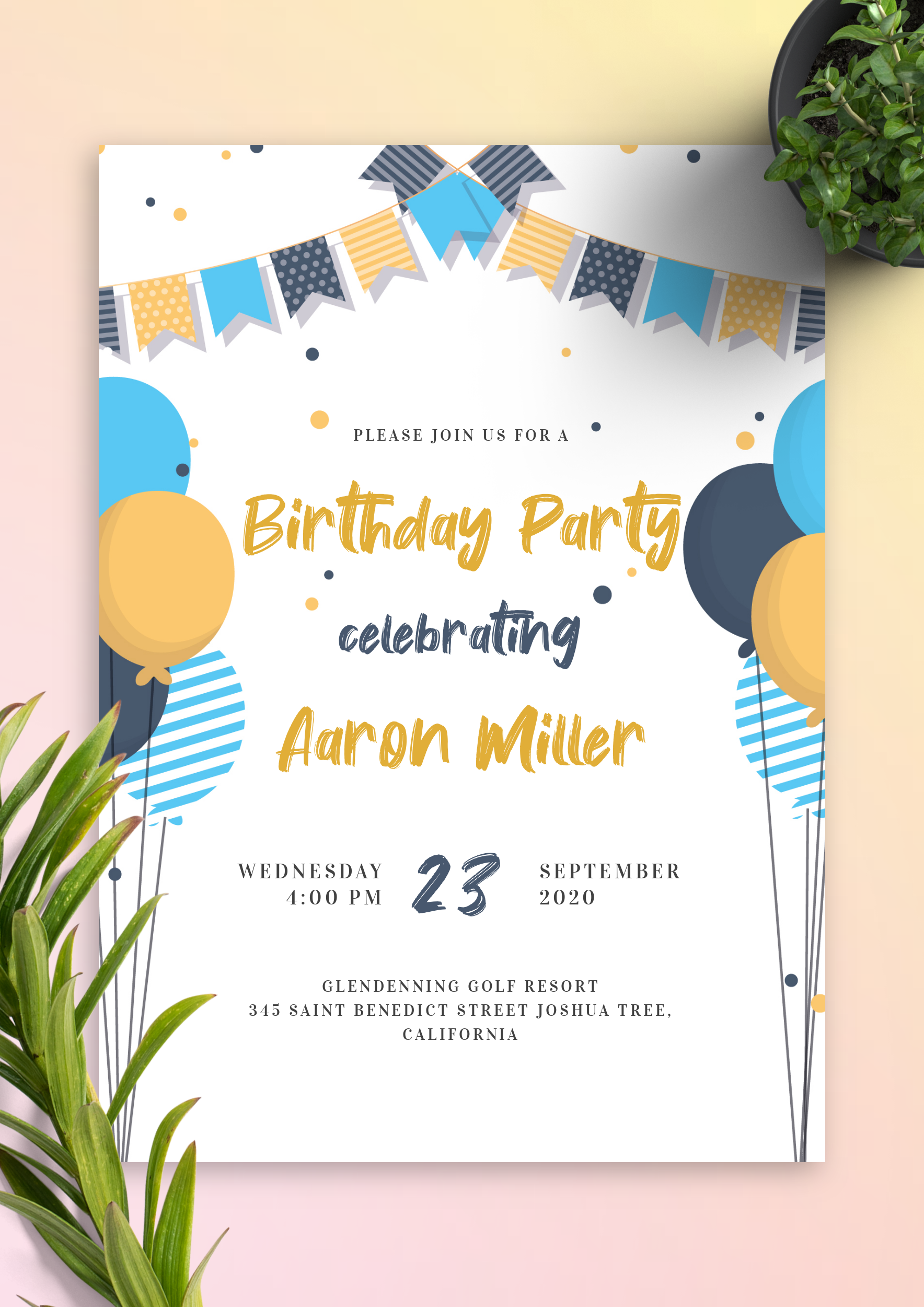 Birthday Invitation Template With A Blue And Yellow Color Design Feat In 2021 Free Birthday Invitation Templates Birthday Invitation Card Template Birthday Invitations