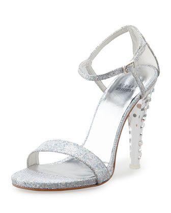 Glittony Lucite-Heel Glitter Sandal by Stuart Weitzman at Neiman Marcus.