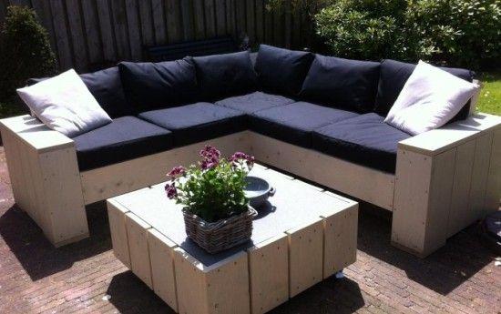 Kussens Steigerhouten Hoekbank : Steigerhouten meubelsets met kussens strandmeubel set