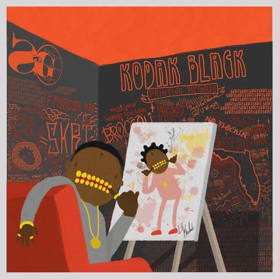 20x20 24x24 Poster Kodak Black Painting Pictures 2019 Album Hip Hop Cover K-157