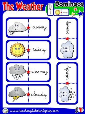 the weather dominoes game picture word funtastic english 1 1st graders english. Black Bedroom Furniture Sets. Home Design Ideas