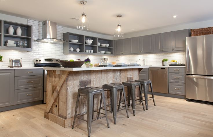 Modern Country Kitchen With Reclaimed Wood Island And Quartz