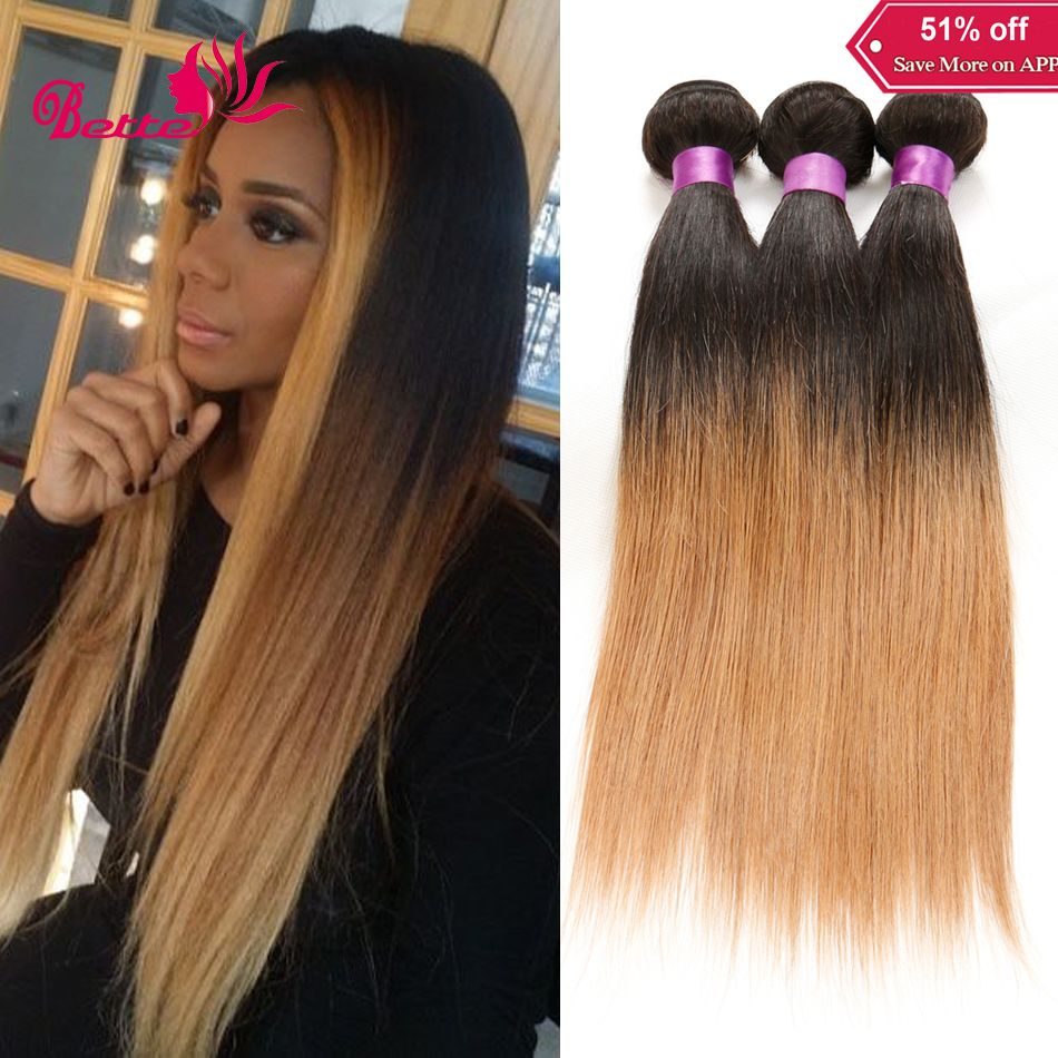 7a Ombre Hair Extensions 1b27 Brown Dark Roots Blonde Human Hair