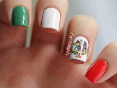 Nails Acrylic Mexico Flag Design
