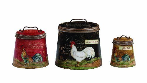 Creative Co-Op Decorative Tin Containers with Rooster Motif, http://www.amazon.com/dp/B004L0LEG4/ref=cm_sw_r_pi_awdm_ajagtb1XV1XXJ