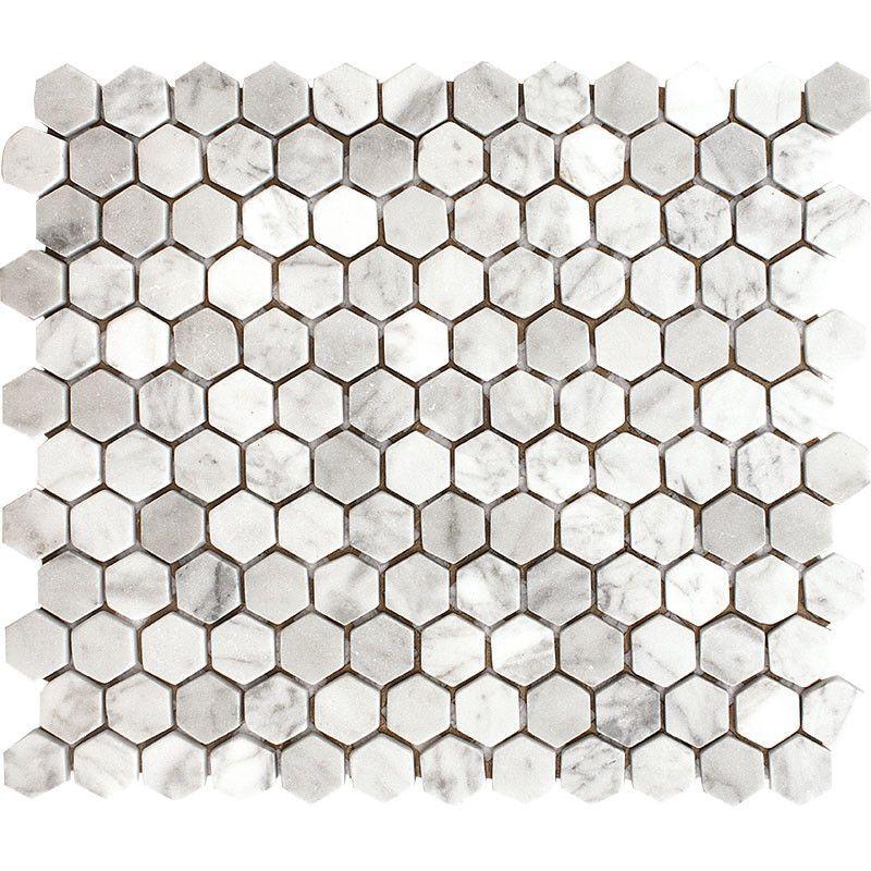 """Carrara Hexagon 1"""" x 1"""" Stone Mosaic Tile White Tumbled"""