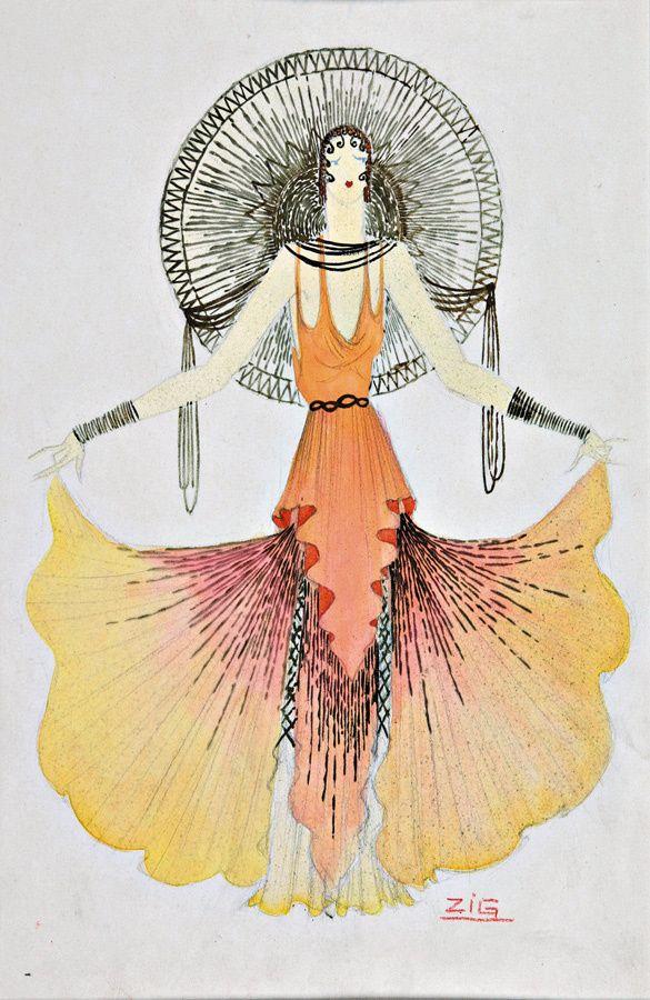 Zig,  Costume Design Illustration  Date Unknown