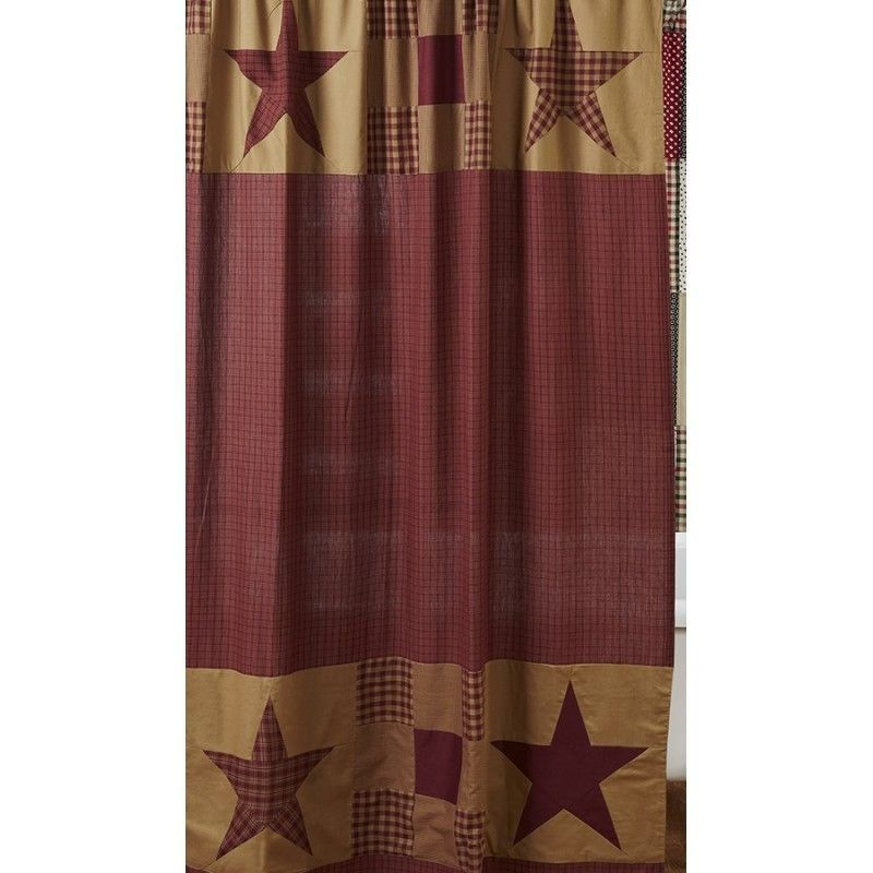 Ninepatch Star Shower Curtain Burgundy Red Tan Primitive Rustic Country Plaid In Home Garden