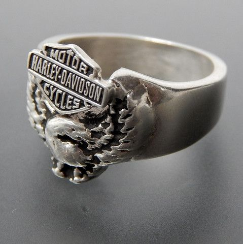 Vintage HarleyDavidson Motorcycles Eagle Sterling Silver Mens Ring