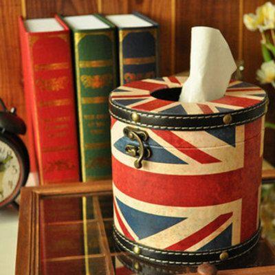 Retro british national flag style round tissue paper box/ tissue ...