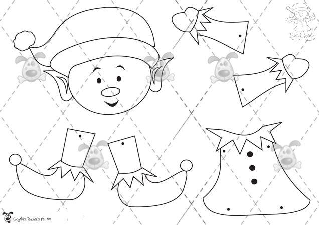 Free Printable Elf Pattern crafts Cutting activities for kids