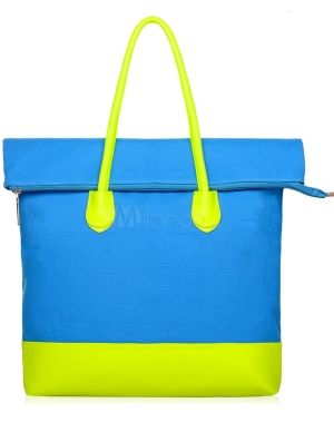 Cute Light Sky Blue Color Block Canvas Neon Color Bag For Women by Milanoo