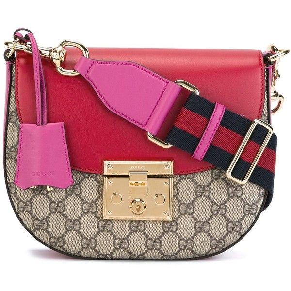 Gucci Padlock Saddle shoulder bag (11,365 GTQ) ❤ liked on Polyvore featuring bags, handbags, shoulder bags, brown, red purse, gucci handbags, gucci, red handbags and brown handbags
