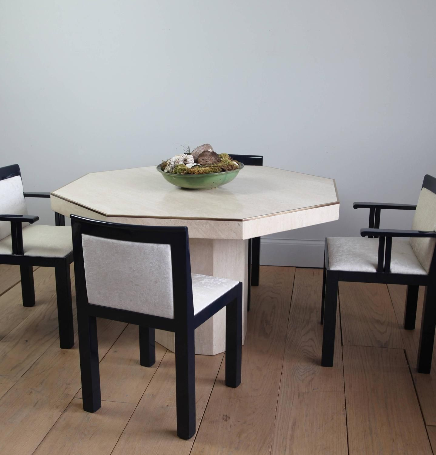 Octagonal Travertine Italian Dining Table 3