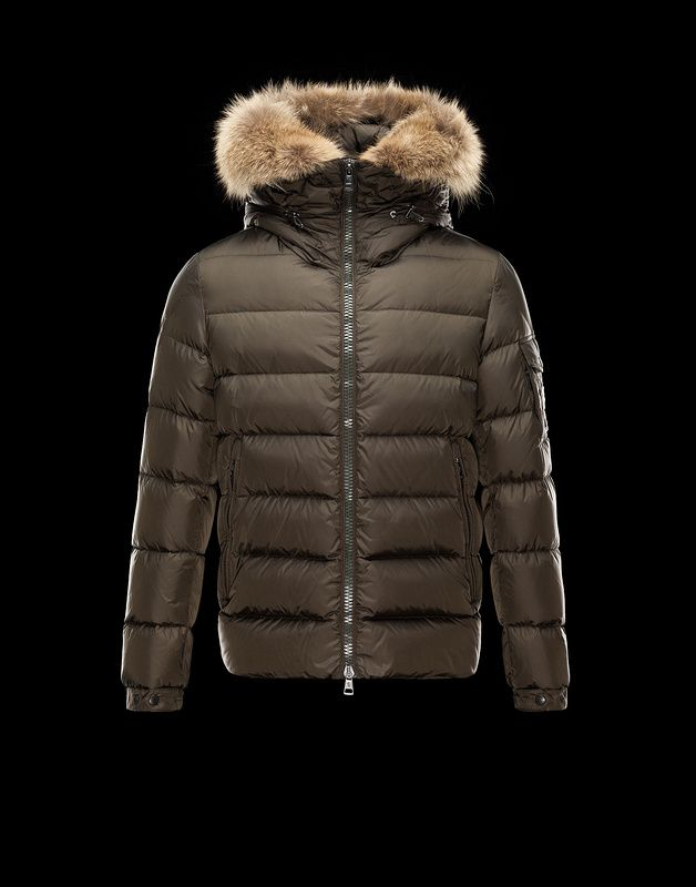 Moncler Byron Full Two Way Zip Fur Trim Hood Down Jacket Coffee For Sale