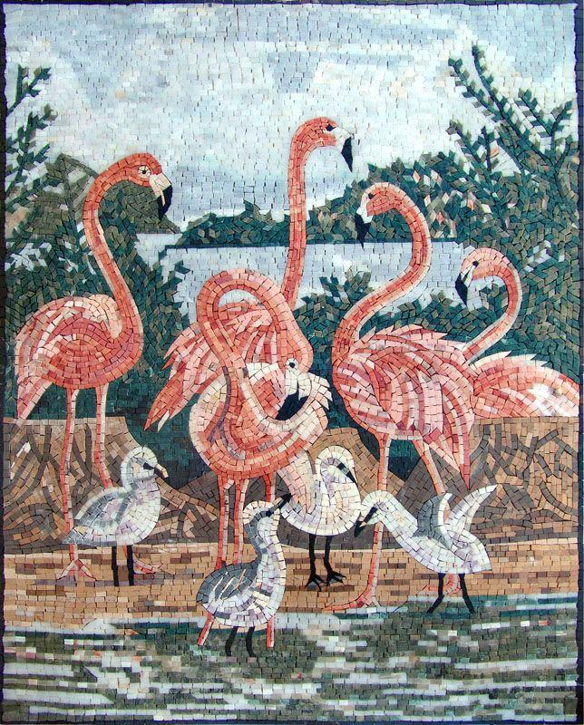 Flamingos Marble Mosaic Tile Stones Art Wall Mural