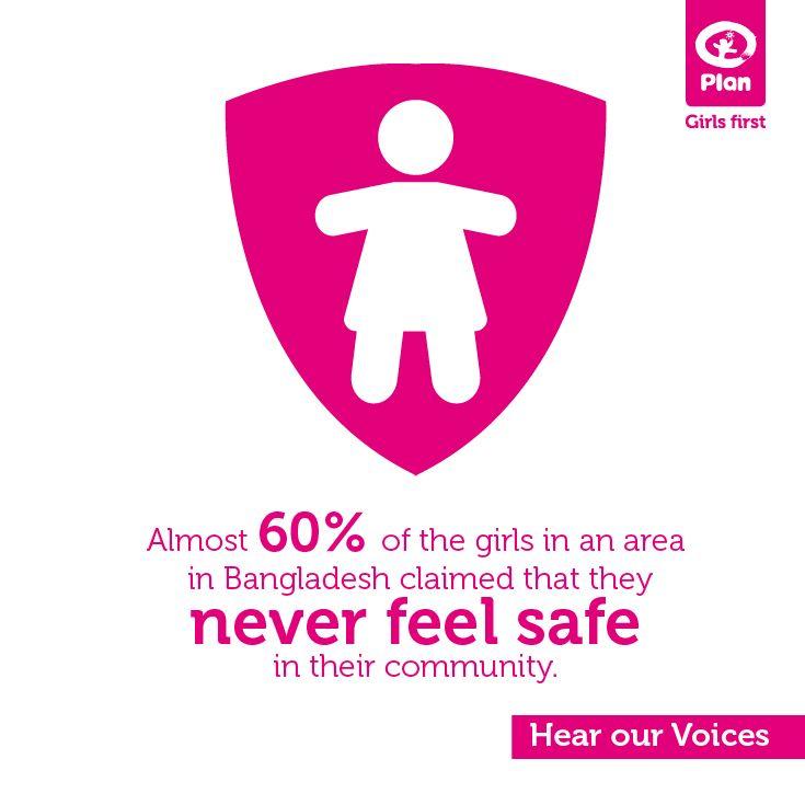 Plan 'Hear our Voices'  -  Bijna 60% van de meisjes in een gebied Bangladesh zeggen zich nooit veilig te voelen in hun gemeenschap.