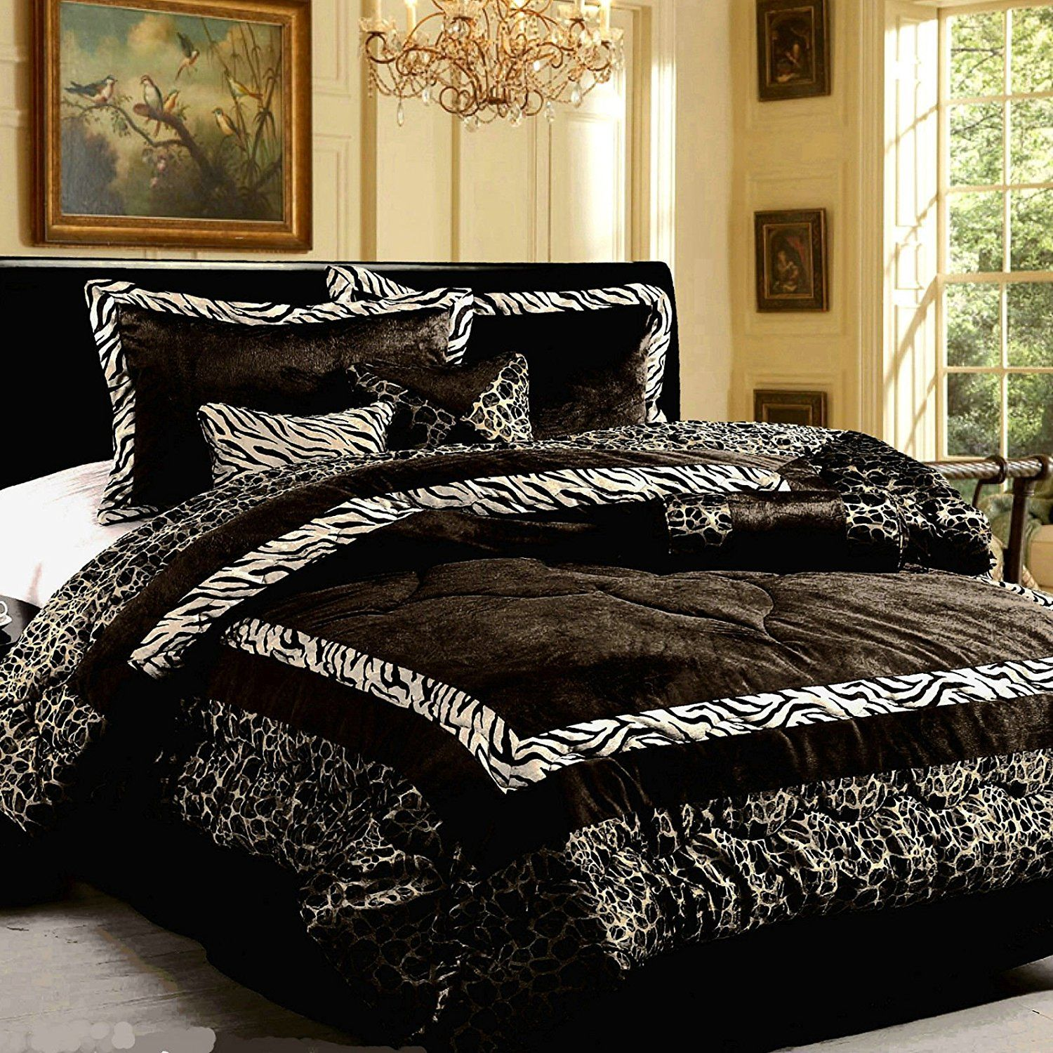 Cheap zebra print bedroom sets - Dovedote Black Safari Zebra Animal Print Comforter Set Queen 7 Pieces