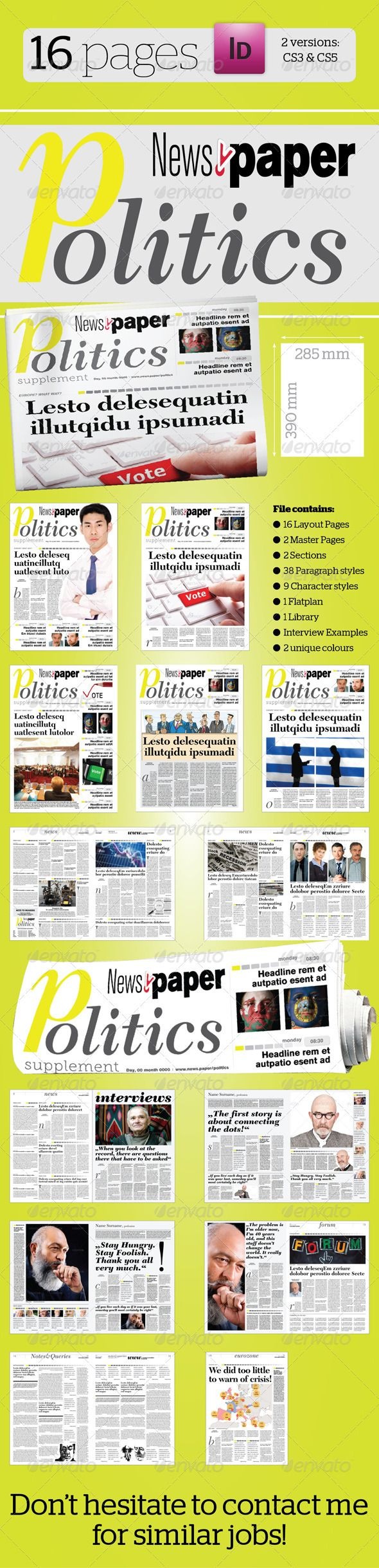 16 Pages Politics Supplement For Newsper Newsletter Templates