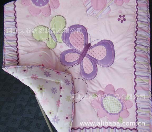 Wholesale-Appliqued Baby Quilt Nursery Comforter Cot Crib bedding ... : butterfly baby quilt pattern - Adamdwight.com